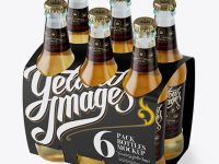 White Paper 6 Pack Beer Bottle Carrier Mockup - Halfside View (High Angle Shot)