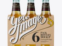 Kraft Paper 6 Pack Beer Bottle Carrier Mockup - Front View