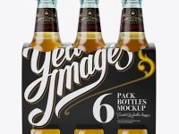 White Paper 6 Pack Beer Bottle Carrier Mockup - Front View
