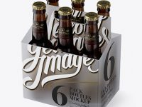 Transparent Plastic 6 Pack Amber Bottle Carrier Mockup - 3/4 View (High-Angle Shot)