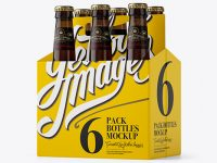 White Paper 6 Pack Amber Bottle Carrier Mockup - 3/4 View