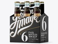 White Paper 6 Pack Beer Bottle Carrier Mockup - 3/4 View