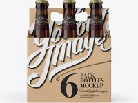 Kraft Paper 6 Pack Amber Bottle Carrier Mockup