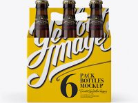 White Paper 6 Pack Amber Bottle Carrier Mockup