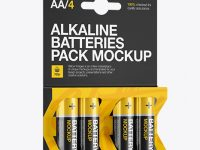 4 Pack Battery AA Mockup - Half Side View