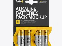 4 Pack Metal Battery AA Mockup - Half Side View