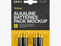 4 Pack Mat Battery AAA Mockup - Front View