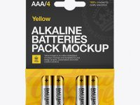 4 Pack Metal Battery AAA Mockup - Front View