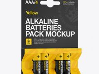 4 Pack Mat Battery AAA Mockup - Halfside View