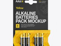 4 Pack Battery AAA Mockup - Halfside View