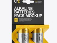 2 Pack Metal Battery C Mockup - Halfside View