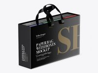 Glossy Paper Bag With Boxes Mockup - Half Side View