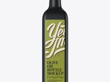 0.75L Black Glass Olive Oil Bottle Mockup