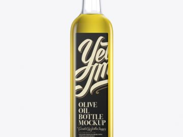 0.75L Clear Glass Olive Oil Bottle Mockup