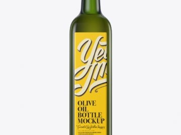 0.75L Green Glass Olive Oil Bottle Mockup