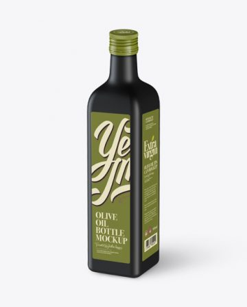 0.75L Black Matte Olive Oil Bottle Mockup - Halfside View (High-Angle Shot)
