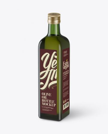 0.75L Green Glass Olive Oil Bottle Mockup - Halfside view (High-Angle Shot)