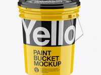 Glossy Paint Bucket Mockup - High Angle