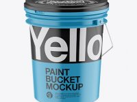 Metallic Paint Bucket Mockup - High Angle Shot