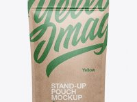 Kraft Stand Up Pouch W/ Zipper Mockup - Front View