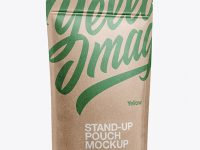 Kraft Stand Up Pouch W/ Zipper Mockup - Half Side View
