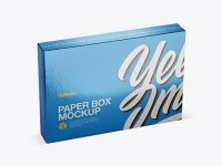 Metallic Paper Box Mockup - Half Side View (High-Angle Shot)
