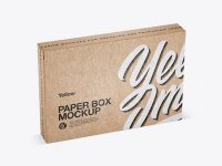 Kraft Paper Box Mockup - Half Side View (High-Angle Shot)