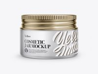 Frosted Glass Cosmetic Jar with Metallic Cap Mockup