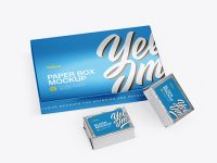 Metallic Paper Box With Two Blocks Mockup