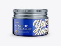 Blue Glass Cosmetic Jar Mockup - Front View