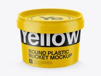 Round Plastic Bucket Mockup - High-Angle Shot