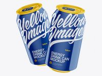 Two Glossy 330ml Aluminium Cans Mockup