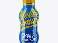 Glossy Plastic Bottle Mockup - High Angle
