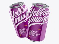 Two Metallic 330ml Aluminium Cans W/ Glossy Finish Mockup