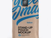 Stand Up Kraft Pouch W/Sticker Mockup - Front View
