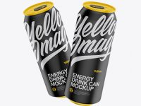 Two 500ml Matte Aluminium Cans Mockup