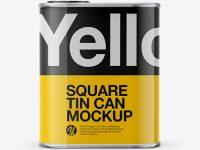 1L Closed Square Tin Can Mockup