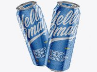 Two 500ml Metallic Aluminium Cans W/ Condensation Mockup