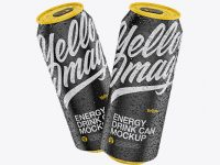 Two 500ml Matte Aluminium Cans W/ Condensation Mockup