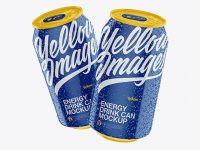 Two Glossy 330ml Aluminium Cans W/ Condensation Mockup