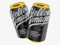 Two Matte 330ml Aluminium Cans W/ Condensation Mockup