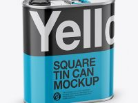4L Closed Square Tin Can Mockup - Half Side View (High-Angle Shot)