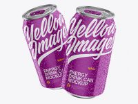 Two 330ml Aluminium Cans W/ Glossy Finish & Condensation Mockup