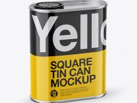 1L Closed Square Tin Can Mockup - Half Side View (High-Angle Shot)