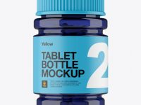 Blue Bottle With Capsules Mockup - Front View