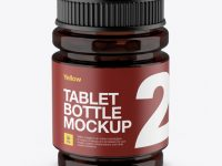 Amber Bottle With Capsules Mockup - High-Angle Shot