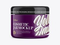 Glossy Cosmetic Jar Mockup - Front View