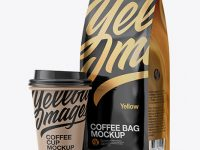 Glossy Bag with Kraft Coffee Cup Mockup - Half Side View