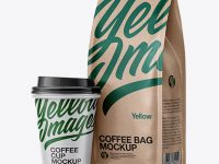 Kraft Bag with Coffee Cup Mockup - Half Side View