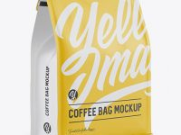 Matte Coffee Bag w/ a Tin-Tie Mockup - Halfside View
